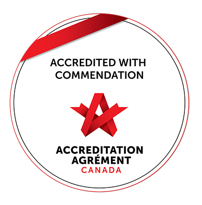 "Accreditation Canada / Agrément Canada badge: ""Accredited with Commendation"""
